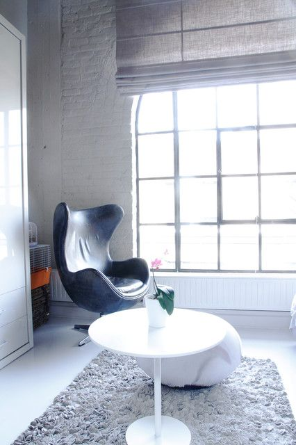Interesting Loft Window Treatments Ideas: Adorable Simple Modern Living  Room With White Coffee Table And