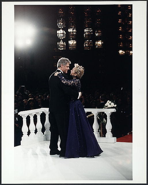 Former President Bill Clinton and (now) Secretary of State Hillary Clinton dancing at an Inaugural Ball in 1993 (source: Library of Congress)