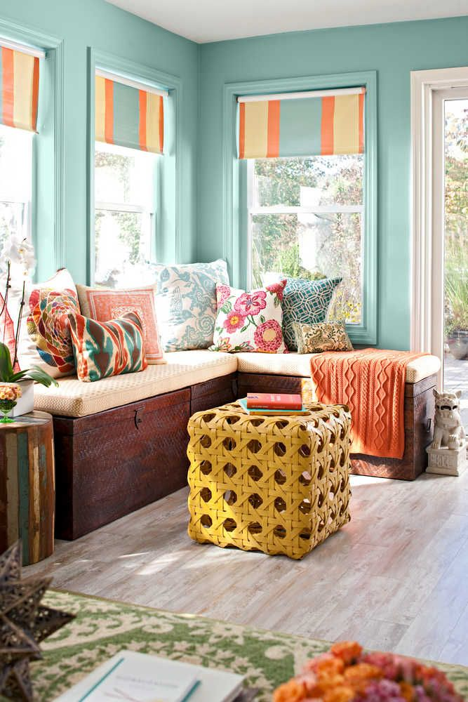 Love The Use Of Color In This Sunroom. The Shades Are A Great Alternative To