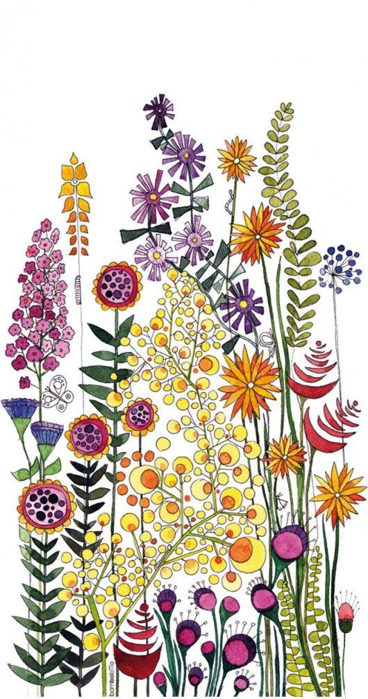 Naklejka przedstawia  grafikę łąki  wykonaną ną  podstawie ręcznie  malowanych…