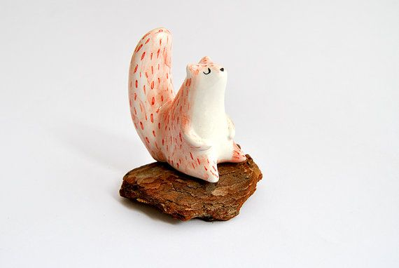 Ceramic Squirrel Miniature in White Clay and Decorated with Pigments in Red and Black. Made To Order