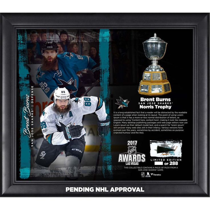 "Brent Burns San Jose Sharks Fanatics Authentic Framed 15"" x 17"" 2017 Norris Trophy Winner Collage with a Piece of Game-Used Puck - Limited Edition of 288"