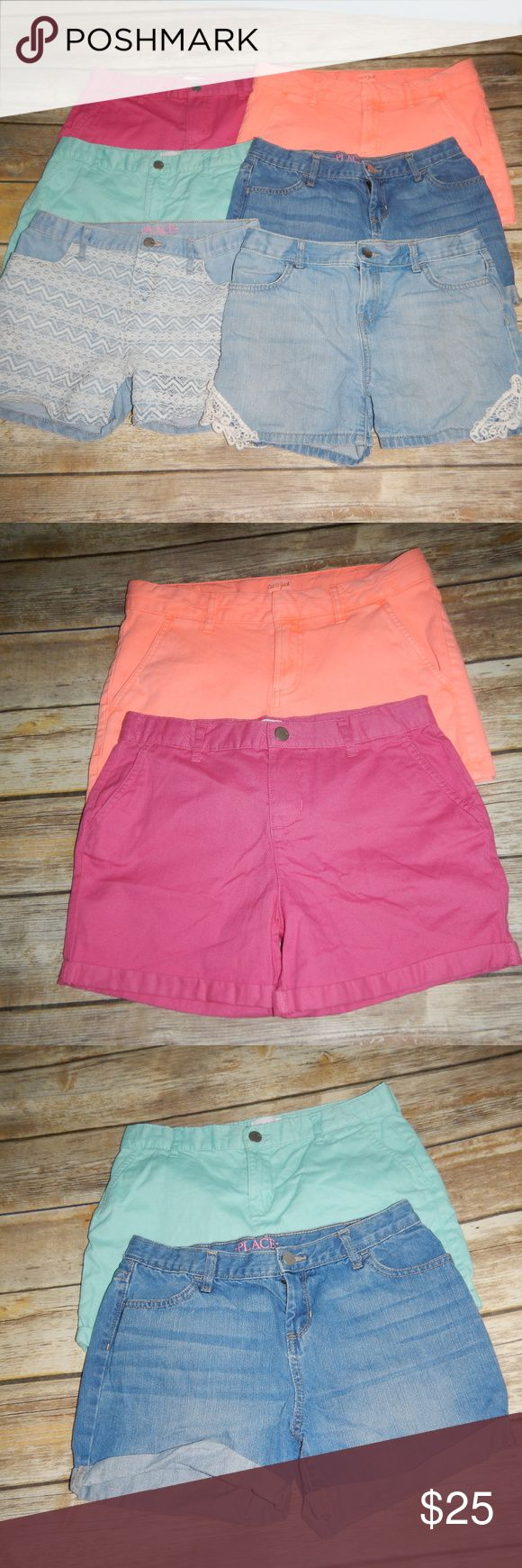 Girls Size 14 Lot 6 Shorts Children Place Cat Jack Girls Size 14 Lot 6 Shorts Children Place Cat Jack 1 Place denim jean shorts with lace on corners 2 Place denim jean shorts with front lace  3 Place aqua shorts 4 Place solid denim jean shorts 5 Place pink shorts 6 Cat & Jack neon orange shorts The Children's Place Bottoms Shorts