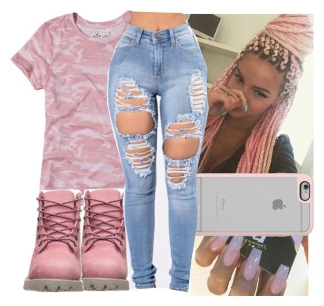 """back in detroit"" by aribearie ❤ liked on Polyvore featuring Hollister Co., Timberland and Casetify"