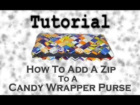 Add zip to candy wrapper purse tutorial