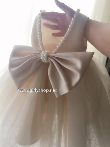 3bf628622 Girly Shop's Beige Cute Pearl Applique Round Neckline Sleeveless Knee  Length Big Bow Back Baby Infant