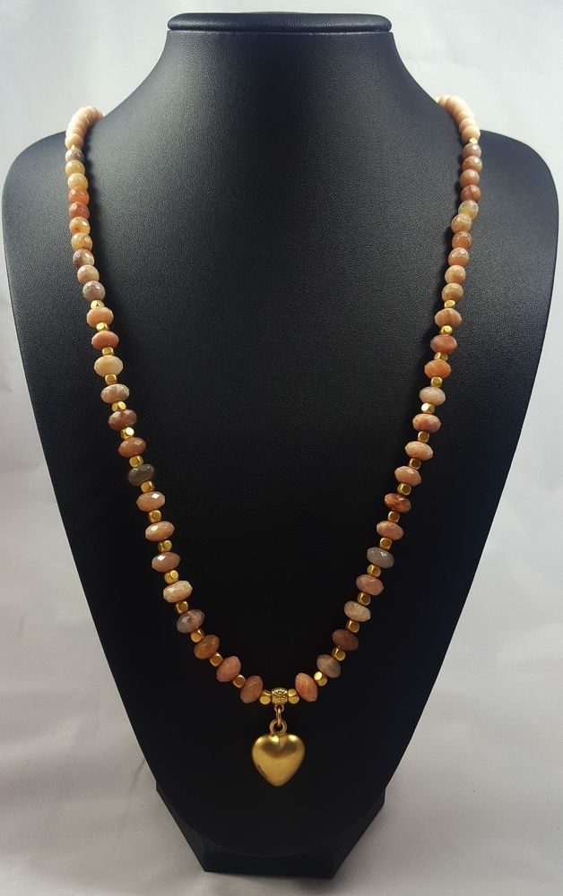 Long Pranella Pink Agate Heart Necklace #Pranella #NecklacePendant