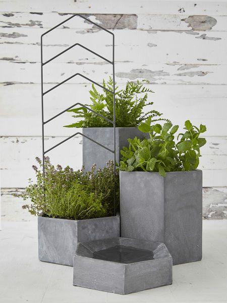 Hexagonal Outdoor Concrete Planters