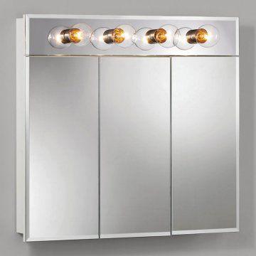 Broan-Nutone Ashland Tri-View 4-Light 30W x 28H in. Surface Mount Medicine Cabinet 755435