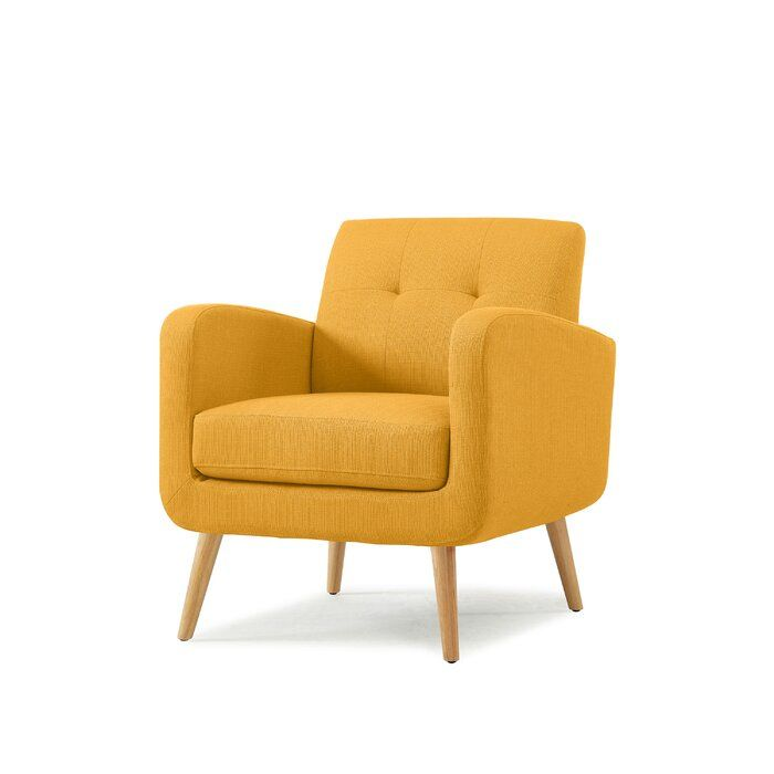 Berti Lounge Chair Yellow Accent Chairs Linen Armchair Furniture
