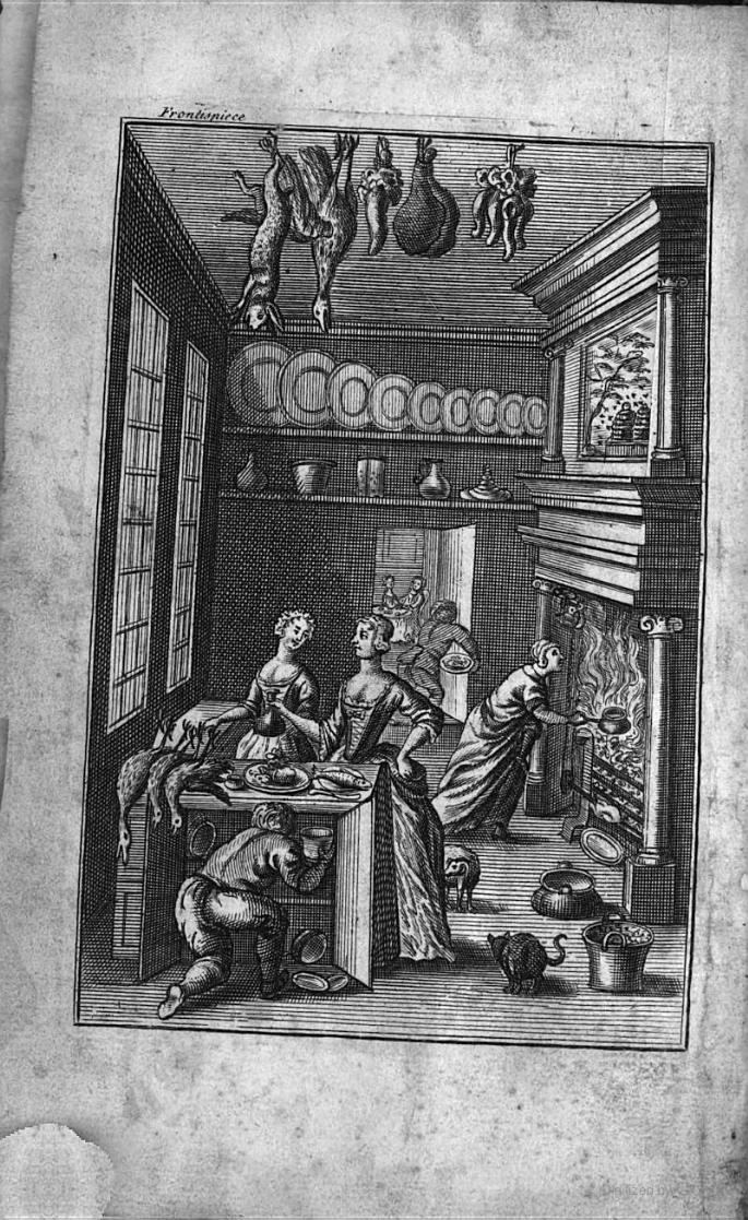 !8th C kitchen scene: frontispiece from The Compleat Housewife, by E.Smith (1739)