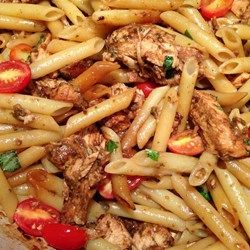 Balsamic Chicken and Pasta Allrecipes.com.  I used basalmic 7 from Infused in Bothell, wa...sooooo good!