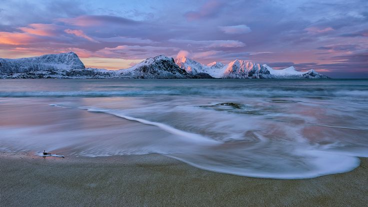 Sunrise 68° North - Haukland Beach, Lofoten Islands.