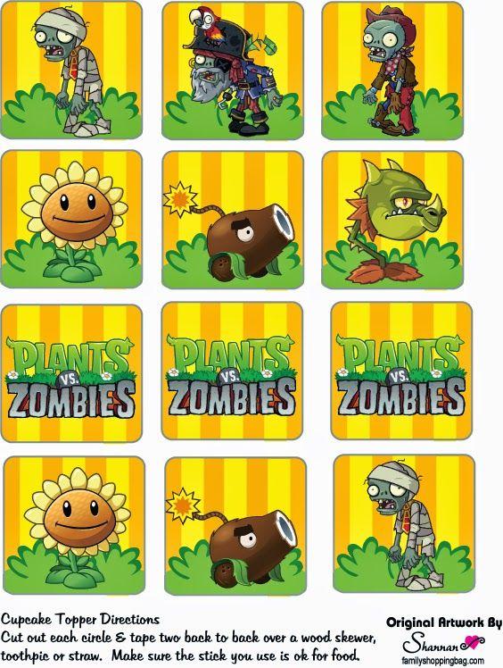 Plantas vs Zombies: Toppers y Wrappers para Imprimir Gratis.                                                                                                                                                                                 Más