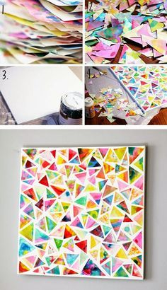 Les couper en triangles par exemple, ou en faire des ronds avec une perforatrice, et les coller pour former une mosaïque :    source    source