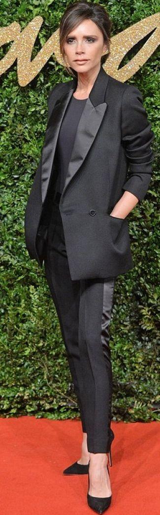 Who What Wear - Victoria Beckham - Black Tuxedo Suit British Music Awards Celebrity Style Inspo