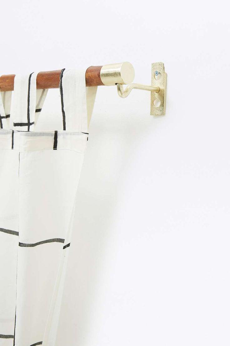 Modern wood curtain rod - Mid Century Modern Wooden Curtain Rod