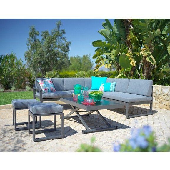 Lounge Gartnitur Mit Tisch In Grau Online Kaufen Tisch Hohenverstellbar Lounge Lounge Garnitur