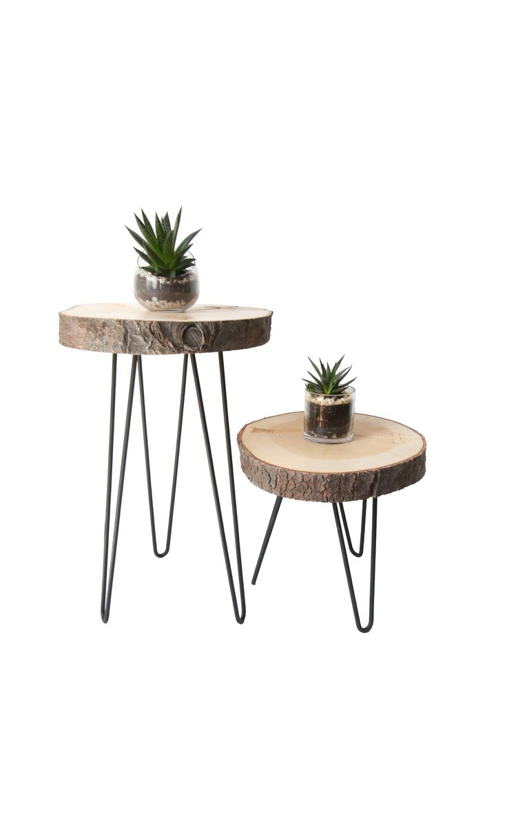Live edge side tables for home decor, living room, bedroom or office space. They utilize hair pin legs and feature a bow tie connection.