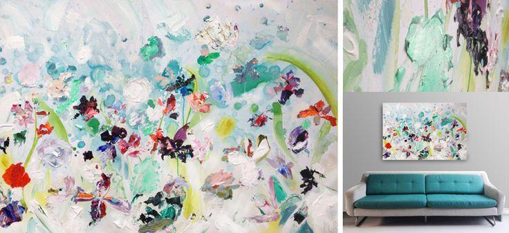 'Regen' | 150 x 100 cm | acryl-aquarel, paletstukken & dikke lagen | v.a. 2 februari verkoopexpositie bij KunstKelder Haarlem centrum | www.ietsfraais.nl #kunst   #bloemen @Raakshalle @Haarlem