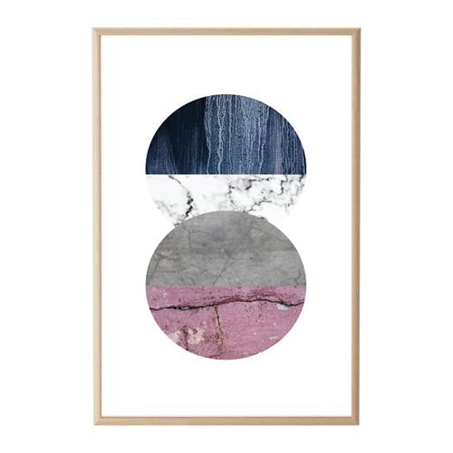House Amour - Concrete Texture Navy Pink Wall Print