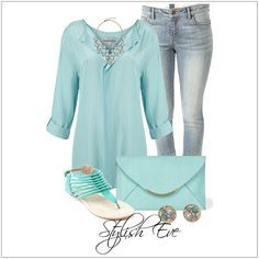 CHATA'S DAILY TIP: Soft blue with faded jeans and silver accessories = a cool effect on a hot summers day, perfect for a Soft skin tone! Opt for a brighter shade of blue if you have a Medium golden skin tone and a deeper, richer shade of blue if you have a Deep to Rich skin tone. COPY CREDIT: Chata Romano Image Consultant, Riana Meyer http://chataromano.com/consultant/riana-meyer/ IMAGE CREDIT: Stylish Eve
