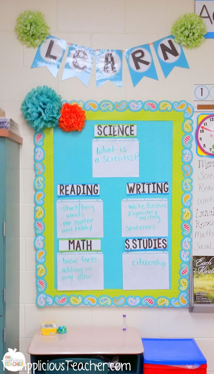 Love this wipe on and off objective board. Slide white sheets of paper into page protectors and staple to a bulletin board. Use EXPO Dry Erase markers to write your objectives for the day.