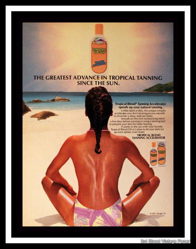 1987 Tropical Blend Tanning Accelerator Ad - Wall Art - Home Decor - Bath - Vanity - 80s Style - Retro Vintage Cosmetic & Drug Advertising by 3rdStVintagePaper on Etsy https://www.etsy.com/listing/574337923/1987-tropical-blend-tanning-accelerator