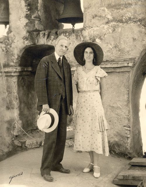John Steven McGroarty and Marie Walsh at the San Fernando Mission Sept. 8, 1931. McGroarty had a distinguished career as the first mayor of Tujunga, a California State Senator, California Poet Laureate and a playwright, journalist and author. Marie Walsh Harrington was the wife of Dr. Mark Harrington. Harrington was the director of the Southwest Museum and restored the Andres Pico Adobe. San Fernando Valley History Digital Library