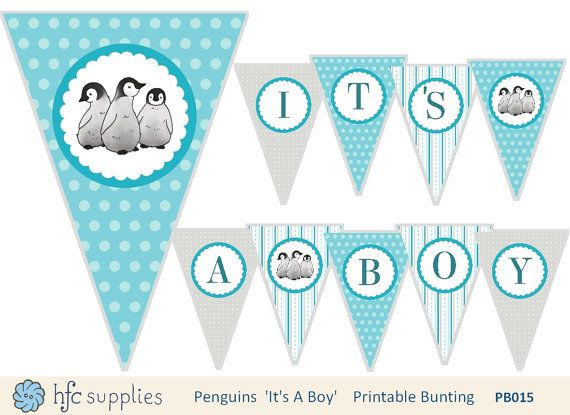 Penguins It's A Boy Bunting  printable baby shower by hfcSupplies