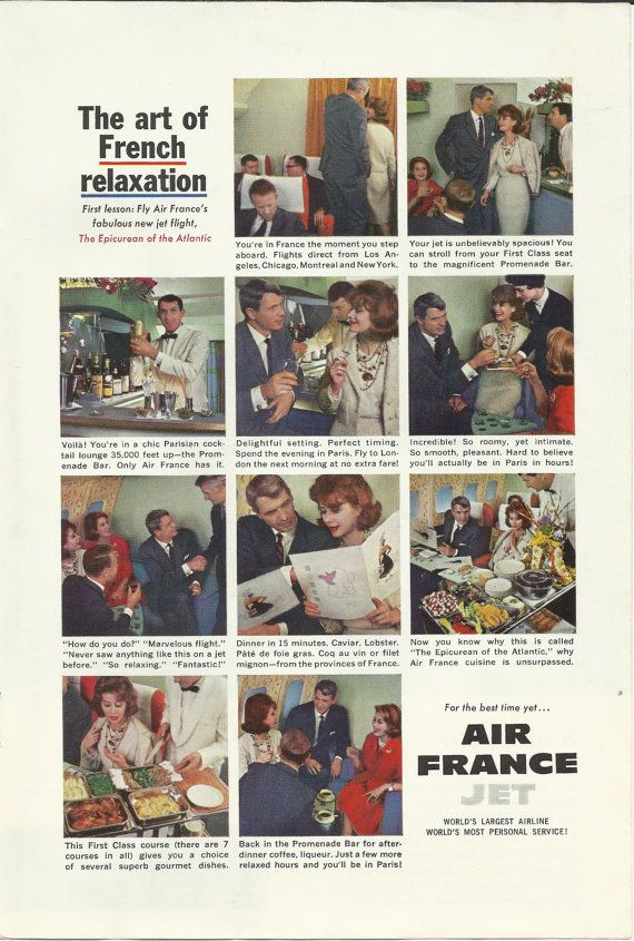 """AIR FRANCE AIRLINE Original 1960 Vintage Print Ad Color Photos Gourmet Cuisine French Relaxation Jet Flight """"The Epicurean of the Atlantic"""""""