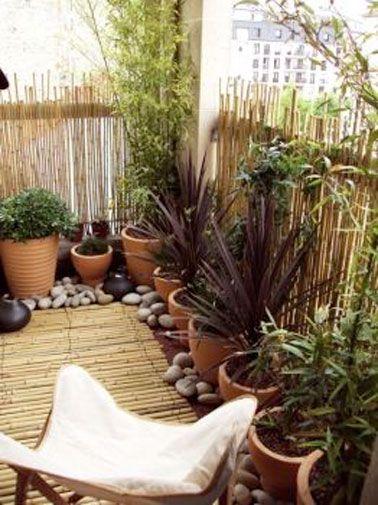 Jardin zen sur petit balcon