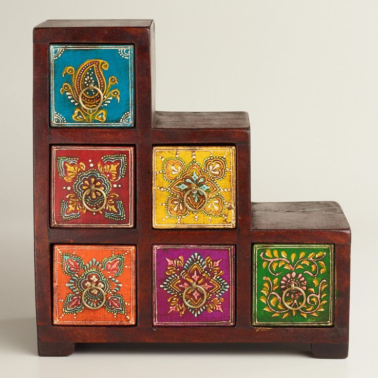 Multicolor Painted Stepped Chest   World Market