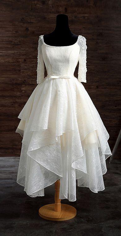 Vintage Tea Length Lace Wedding Dress A-line Scoop Neck With Appliques Lace - GemGrace.com