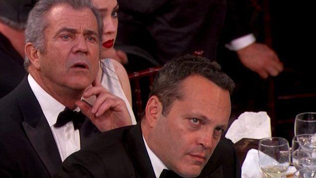 Not impressed! Mel Gibson and Vince Vaughn glare daggers through Meryl Streep's Golden Globes anti-Trump speech