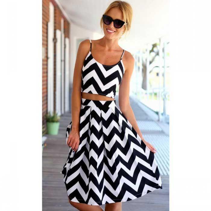 Dámské Beach / neformální / Party elastický šifón plodin vesta Top & sukně šaty - černá + bílá (S)