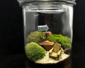 Large Terrarium Jar with Landscape Scene by DoodleBirdie on Etsy