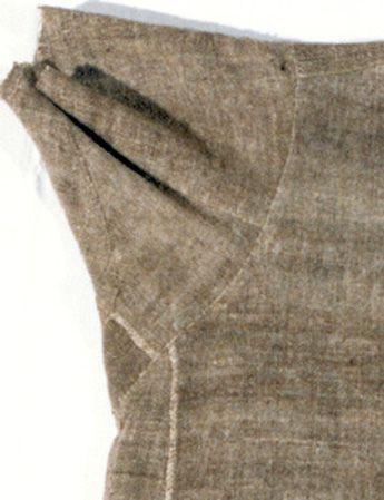 DRESS OF CLARE (1194-1253) Assisi, St. Protomonastero Chiara. Detail of underarm gusset