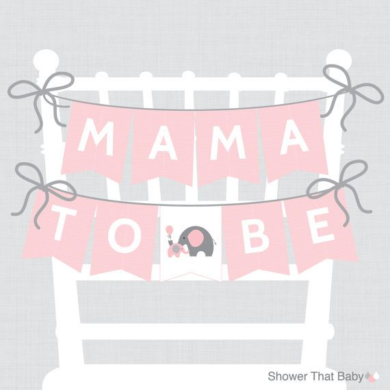 elephant baby shower chair banner printable mama to be banner mom to be sign dad to be sign pink and gray baby shower elephant 0024p