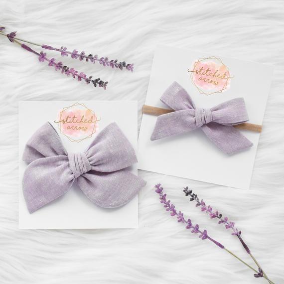 Schoolgirl Bow Baby Bow Headband Hand-Tied Bow newborn headband Baby headband Toddler bow lavender bow Linen bow Girl Bow Headband