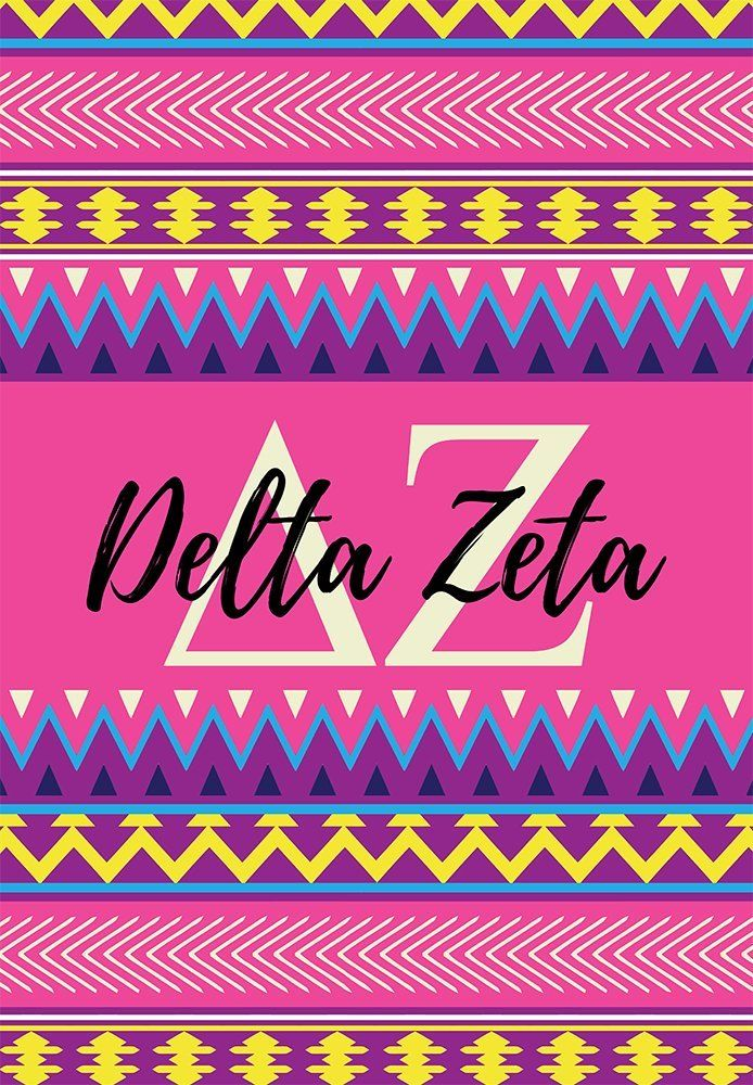 Delta Zeta sorority 12 inch x 20 inch flag - Pink and purple Aztec - Room decor - Garden flag - Gift for mom or alumna. My flags are designed by me so you will find these designs no where else ! Decorate your dorm, sorority house or yard with this small, colorful flag. At 12 x 20 inches, these are what is considered a Garden flag size. -Indoor / Outdoor flag. 100% Polyester Mesh flag. 12 inches by 20 inches. -Printed on BOTH SIDES. -Pocket at the top for hanging on a garden flag pole…