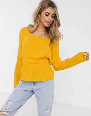 pimkie square neck shirred waist blouse in mustard asos
