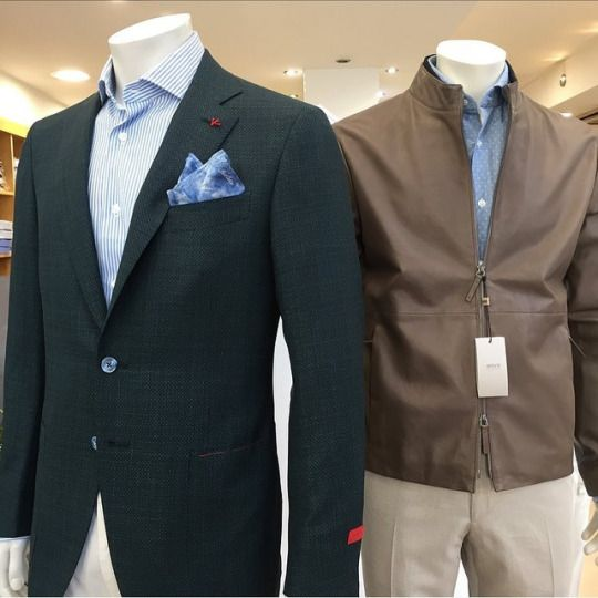 Green wool/linen jacket by Isaia.    Armani Collezioni beige leather jacket: https://www.incrocio.gr/en/clothing/armani-collezioni-leather-jacket-1.html    #armani #isaia #jackets