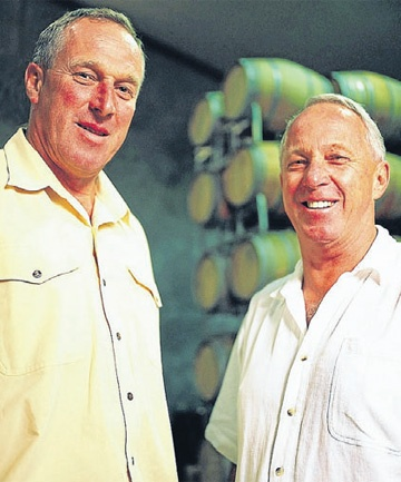 """Decorated"" Ross Spence, QSO (2000), Fellow of New Zealand Winegrowers (2006). Ross (right) with brother Bill, produced New Zealand's first Sauvignon Blanc grapes in 1974. Ross and Bill founded Matua Valley Wines Ltd and Ross served for 23 years on the Wine Institute of New Zealand and chairman 1997-1999."