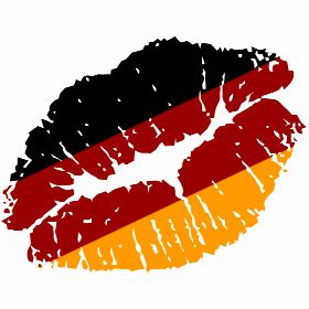 Ein Kussmundabdruck in schwarz, rot und gelb den Farben von Deutschland, passende zur jeder Weltmeisterschaft bzw. Europameisterschaft oder Geburtstagsparty