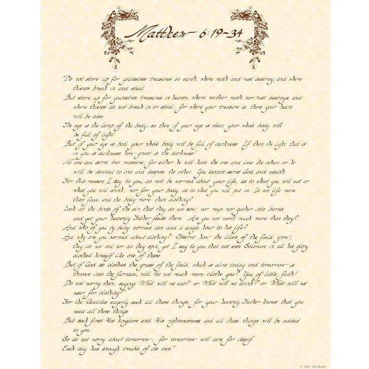 MATTHEW 6:19-34 11x14 Hand Written Calligraphy by VintageVerses