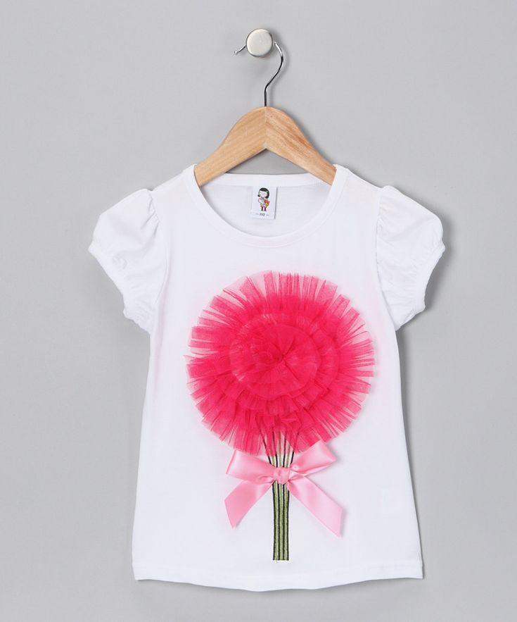 Hot pink girls t-shirt #tulle #satin