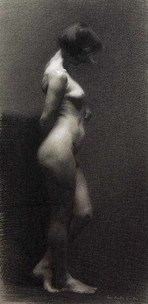 Tonwertumkehrung, die Frau triet so aus dem Hintergehung. ; Archiv