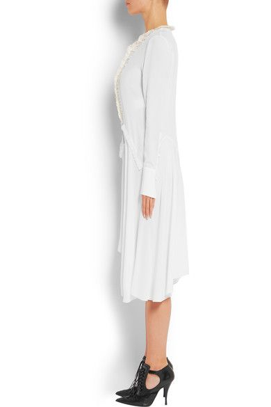 Givenchy - Ruffled Midi Dress In White Silk Crepe De Chine - FR38