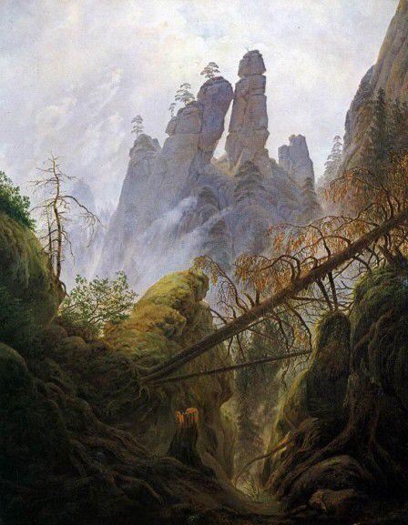 Caspar David Friedrich, Paysage rocheux dans la Elbsandsteingebirge, 1822, Huile sur toile, Österreichische Galerie Belvedere, Vienne